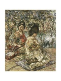 Geisha Girls in a Japanese Garden Giclee Print by Edward Atkinson Hornel