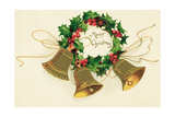Christmas Card with Wreath of Holly and a Trio of Bells Giclee Print