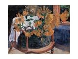 Still Life with Sunflowers on an Armchair Giclee Print by Paul Gauguin