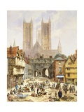 A View of Lincoln Cathedral, England Giclee Print by Louise J. Rayner