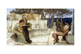 Sappho and Alcaeus Gicléedruk van Sir Lawrence Alma-Tadema