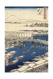 Nihonbashi, Clearing after Snow Reproduction procédé giclée par Ando Hiroshige