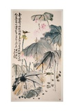 Lotus and Green Birds Impression giclée par Wang Zhen