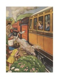 Children Waving at Passing Train Giclee Print
