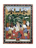 19th-Century Indian Painting of the Wife of Rajah Ramchanderjee in Rawan's Garden Giclee Print