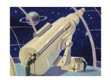 Biekens Pictorial Sticker with a Giant Telescope Giclee Print