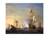 Harbor Scene: an English Ship with Sails Loosened Firing a Gun Giclee Print by Peter Monamy