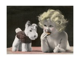 Child Eating Cookie Next to Stuffed Toy Dog Giclee Print