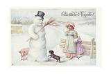 Gluckliches Neujahr! Postcard Giclee Print