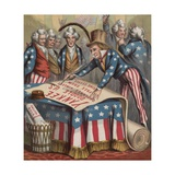 19th-Century Illustration of Uncle Sam Signing a Declaration of Independence Giclee Print