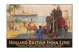 Holland British India Line Poster Giclée-tryk af E.V. Hove
