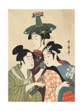 Three Young Men or Women Gicleetryck av Kitagawa Utamaro