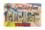 Greetings from Dallas, Texas, in the Heart of Texas Giclee Print
