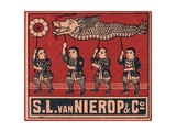 Chinese Matchbox Label with Children Holding a Parade Dragon Giclee Print