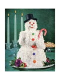 Christmas Coconut Cake in the Shape of a Snowman Giclee Print