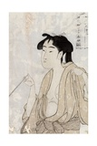 Woman Smoking a Pipe Giclee Print by Kitagawa Utamaro