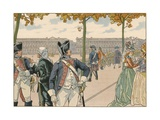 Illustration of Joachim Murat Walking in the Tuileries Giclee Print by Jacques Onfroy de Breville