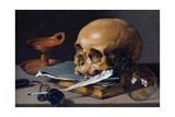 Still Life with Skull and Quill Lámina giclée por Pieter Claesz