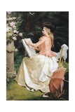 The Artist in the Garden Giclee Print by Gustave Jean Jacquet