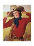 Cowgirl with Rope on Shoulder Giclee Print