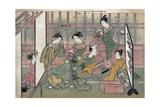 A Brothel in Shinagawa: First Page of a Shunga Set Giclee Print