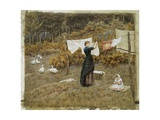 Hanging the Washing, a Beautiful Spring Morning Giclee Print by Helen Allingham