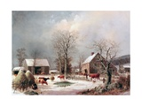 Farmyard in Winter Giclee Print by George Henry Durrie
