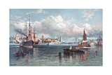 New York Harbor and the Brooklyn Bridge Giclee Print by Andrew W. Melrose