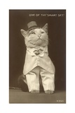 Cat Wearing Pinstripe Suit and Top Hat Giclee Print