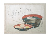 Bowl of Fish and Noodles (New Year Meal) Giclee Print by Teisai Hokuba