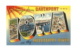 Greetings from Davenport, Iowa on the Mississippi River Giclee Print