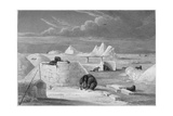 Illustration of Inuits Building an Igloo Giclee Print by Edward Finden