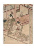 Courtesan and Kamuro in a Parlour Giclee Print by Kitao Shigemasa