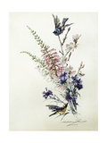 A Study of Heather, Cornflower, and Blossom Giclee Print by Madeleine Lemaire