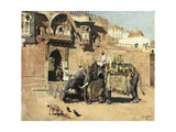 Elephants Outside a Palace, Jodhpore, India Giclee Print by Edwin Lord Weeks
