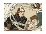 Illustration of a Fireman Rescuing a Woman and Child Giclee Print by Marie Schubert