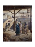 Boarding the Ship for New York Giclee Print by Louis Auguste Loustaunau