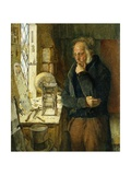 Our Village Clockmaker Solving a Problem Giclee Print by James Campbell
