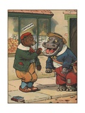 Bear Feeding Apple to Hippo Giclee Print