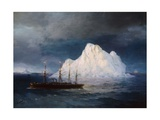 A Steamboat Sailing by an Iceberg Giclee Print by Ivan Aivazovsky