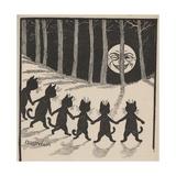 Line of Cats in Moonlight Gicléedruk van Louis Wain