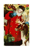 A Happy Christmas Postcard with Saint Nicholas and a Reindeer Wydruk giclee
