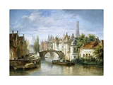 Barges on the Canal in Bruges Giclee Print by Pierre Justin Ouvrie