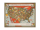 A Food Map of the United States Giclee Print