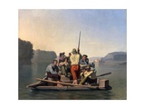 Lighter Relieving a Steamboat Aground Giclee Print by George Caleb Bingham