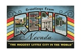 Greetings from Reno, Nevada, the Biggest Little City in the World Giclee Print