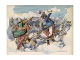 Illustration of Joachim Murat Battling Mustapha Pasha Giclee Print by Jacques Onfroy de Breville