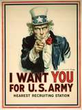 I Want You for the U.S. Army Recruitment Poster Lámina giclée por Flagg, James Montgomery