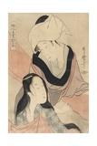 Hanging Laundry to Dry Gicleetryck av Kitagawa Utamaro