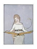 Illustration of a Girl Holding a Large Book Giclee Print by Margaret Evans Price